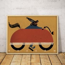 """Plakat """"KRAKÓW"""", J. Kamiński, 50x70 / 30x40"""